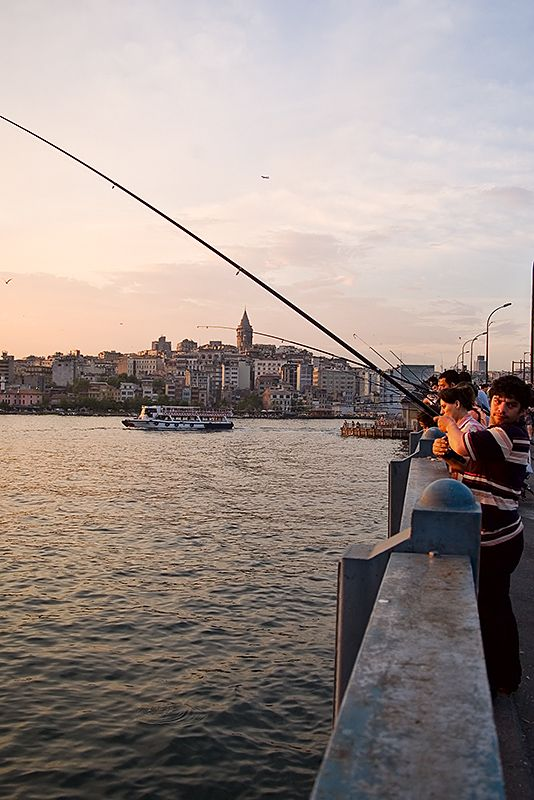 Fishermen at Galata Bridge - Istanbul, Istanbul
