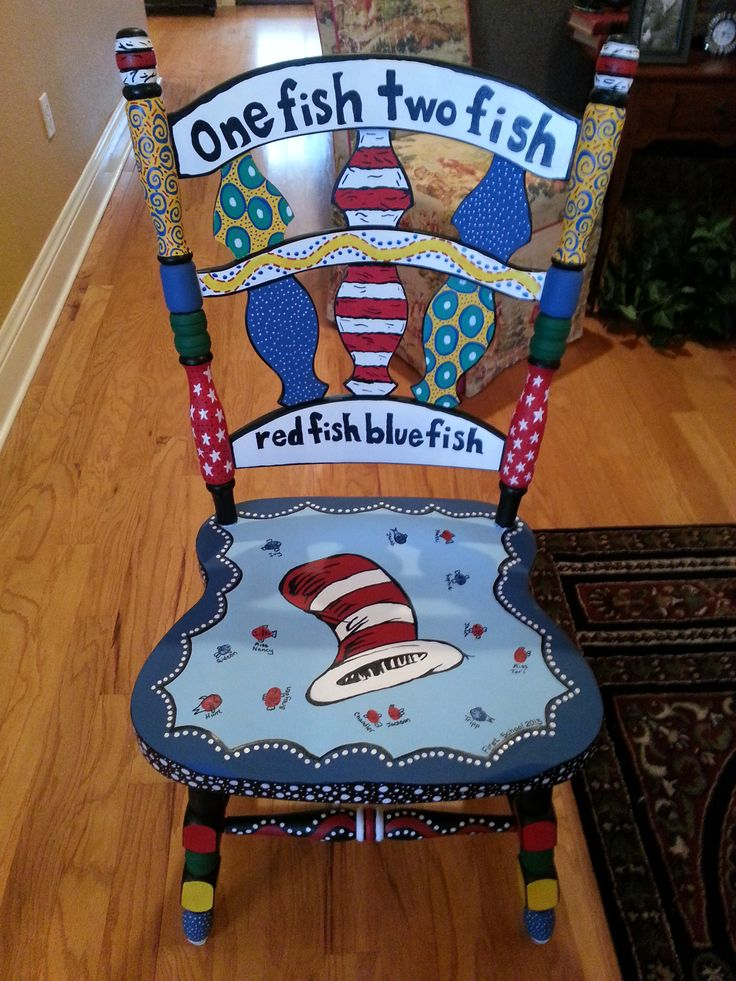 "Just finished this chair for a preschool teacher friend of mine.  The ""fish"" are the kids fingerprints!"