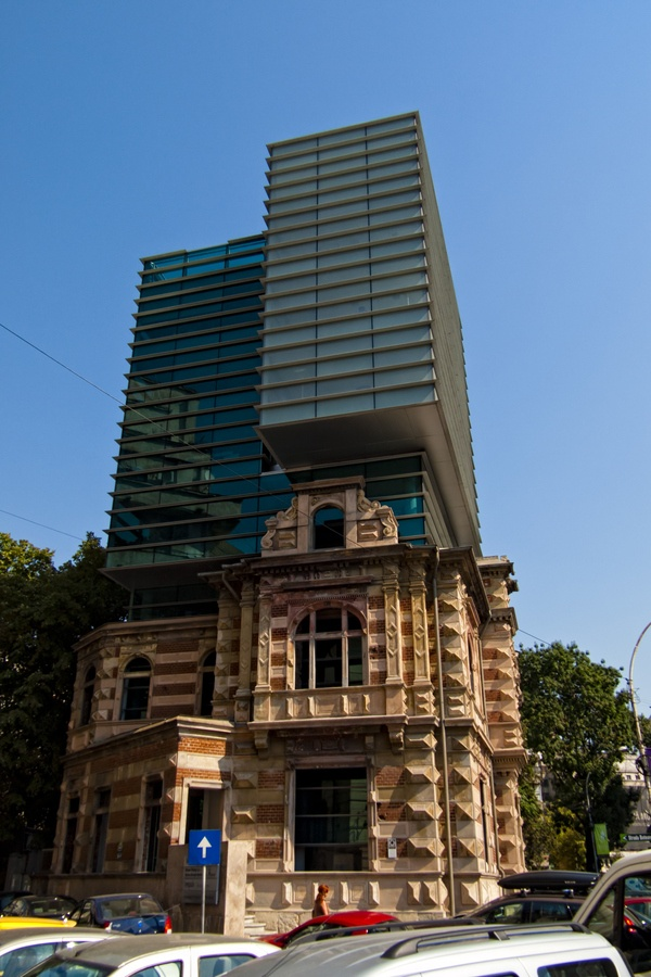 Old & New in a Bucharest building.