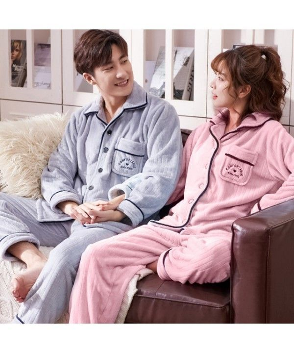 Long-sleeved couple pajamas flannel cardigan warm Pajama sets ... 67f3340a0