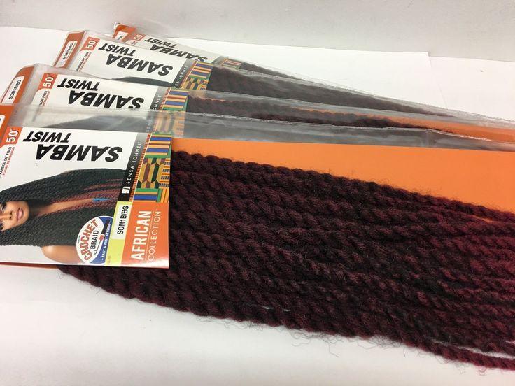 """4 Packs of Sensationnel SAMBA TWIST 50"""" Kanekalon Crochet Braid Hair SOM1B/BG"""