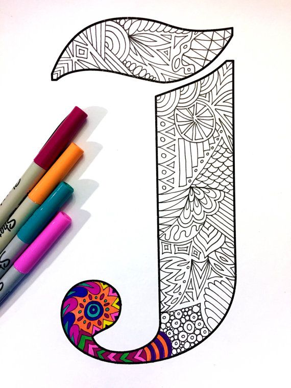 8.5x11 PDF coloring page of the uppercase letter J - inspired by the font Deutsch Gothic  Fun for all ages.  Relieve stress, or just relax and have fun using your favorite colored pencils, pens, watercolors, paint, pastels, or crayons.  Print on card-stock paper or other thick paper (recommended).  Original art by Devyn Brewer (DJPenscript).  For personal use only. Please do not reproduce or sell this item.  HOW TO DOWNLOAD YOUR DIGITAL FILES: https://www.etsy.com/help/art...