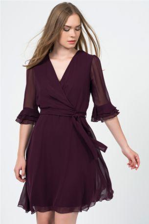 İspanyol Kol Mürdüm Şifon Elbise