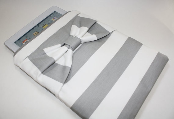 iPad Case / Sleeve  Gray & White Stripe by AlmquistDesignStudio, $45.00