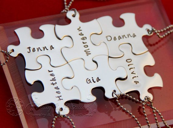 Puzzle piece necklace/keychain. Wedding day gift for the kids and the man from me. :)