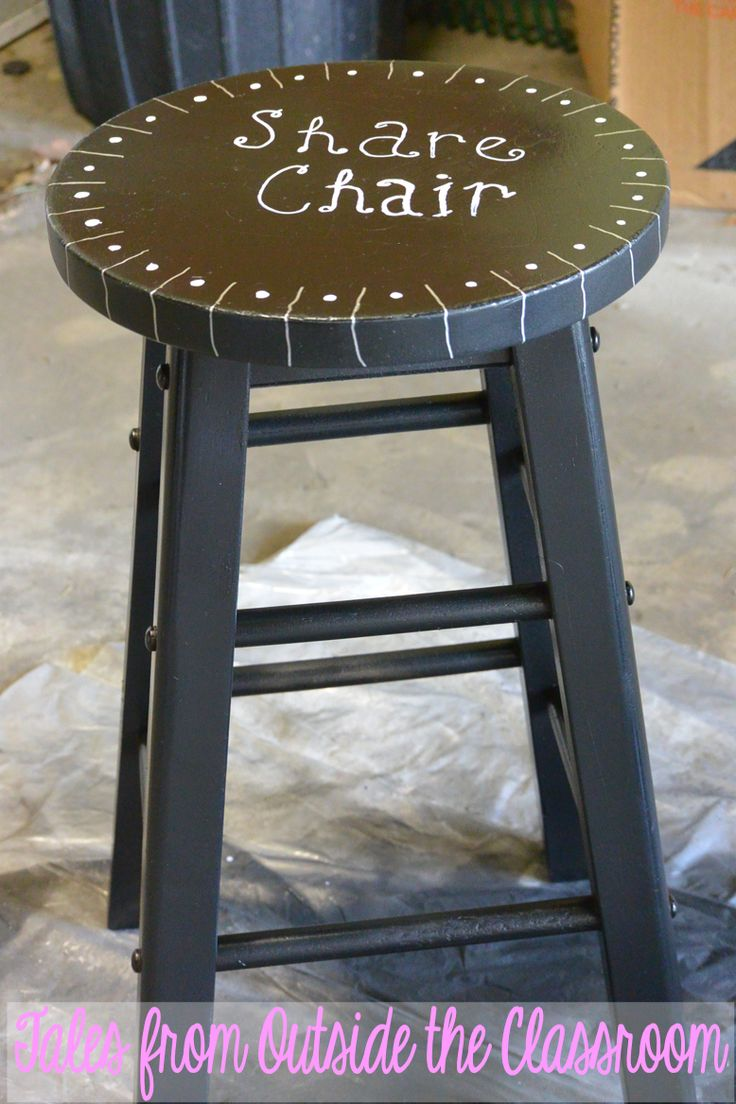 Tales from Outside the Classroom:  Very Cute DIY Share Chair! Use old wooden stools in your classroom as Share Chairs for writing and other sharing times.