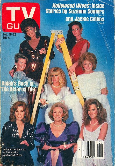 """TV Guide February 16, 1985. Joanna Cassidy, Mary Crosby, Candice Bergen, Suzanne Somers, Angie Dickinson, Stefanie Powers, Frances Bergen, and Catherine Mary Stewart of the ABC miniseries """"Jackie Collins' Hollywood Wives."""""""