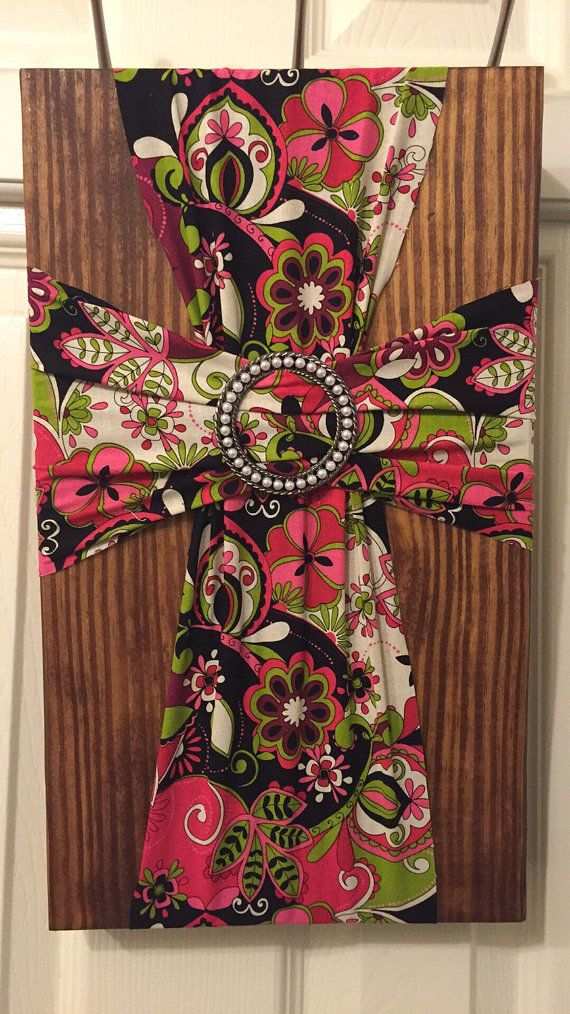 Beautiful Fabric And Wood Cross By Simplyshannascrafts On