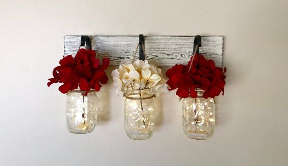 Mason Jar Wall Decor, Rustic Home Decor, Christmas Decorations, Painted Mason Jars, Lighted Mason Jars, Gifts For Her, Christmas Gift Ideas