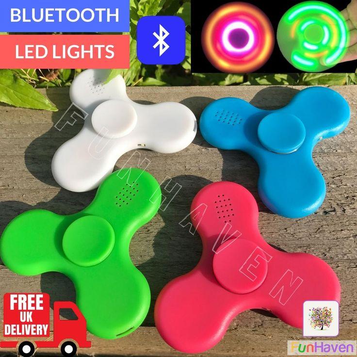 Bluetooth LED Fidget Spinner With Speaker Light Up Figet Finger Figit  Fidgit Toy