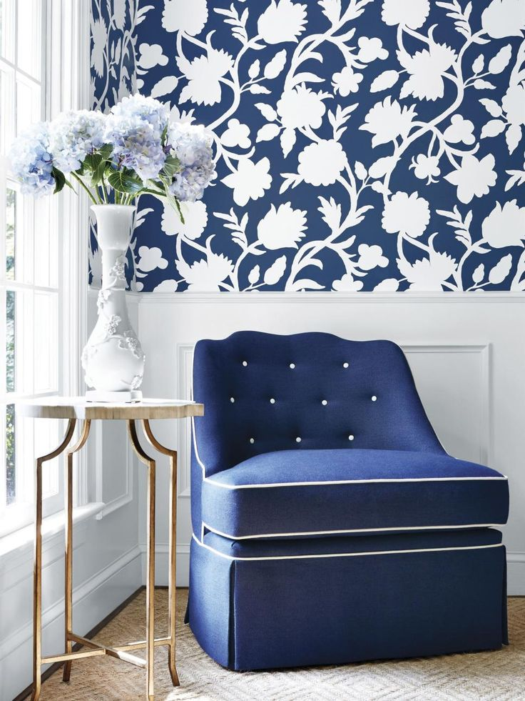 Blue Chair Matches Patterned Wallpaper (With images