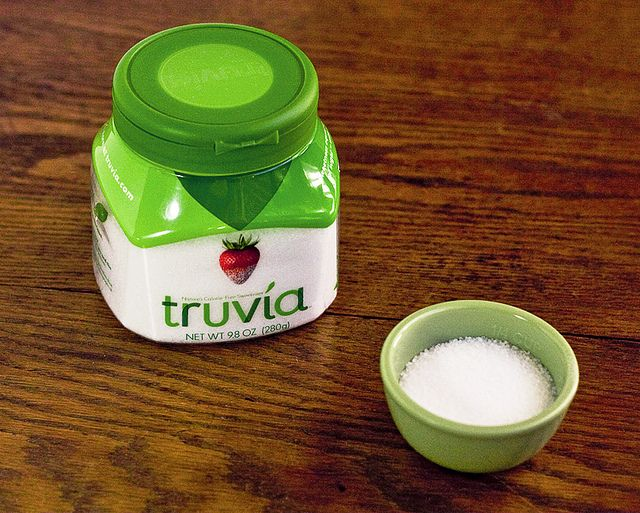 """Homemade """"Truvia"""" Sweetener   Makes 1/4 cup sweetener substitute   1/8 teaspoon good tasting stevia extract (I use NuNaturals pure white stevia extract) 1/4 cup erythritol  Add ingredients to plastic baggie. Shake baggie well to mix sweeteners. To replace 1 cup of Truvia, mix 1/2 teaspoon of pure stevia extract with 1 cup erythritol."""