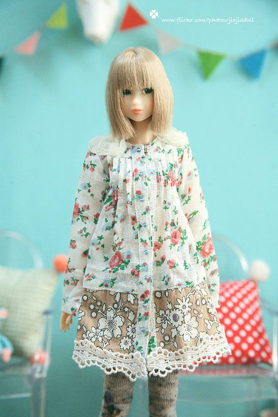 Jiajia Doll Colored Flower White Lace Long Shirts by jiajiadoll ~:):)