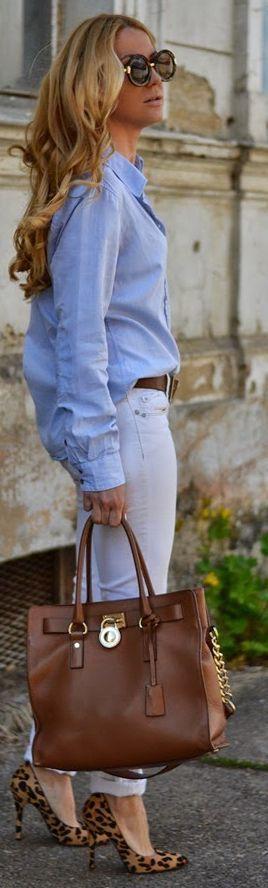 Street style | Denim shirt, white pants, animal print heels, Michael Kors handbag