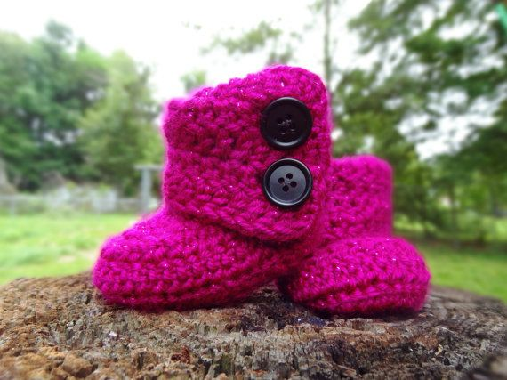 Custom Baby Boots - Crochet Baby Booties - Shimmer Fold Over Boots for Baby Girls - Infant Newborn Girls Shoes on Etsy, $21.55 CAD