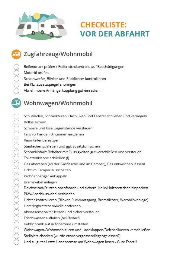 Update: Checkliste - Vor der Abfahrt - CamperStyle.de