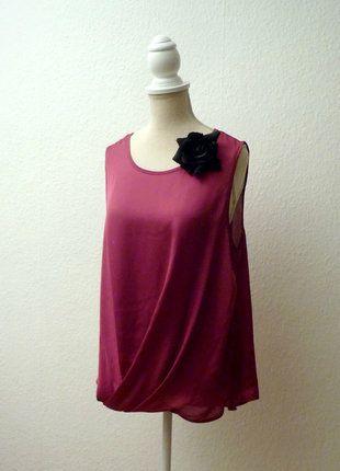 À vendre sur #vintedfrance ! http://www.vinted.fr/mode-femmes/blouses-and-chemises/26714599-neuf-blouse-debardeur-ample-loose-satin-grenat-framboise-new-look-42
