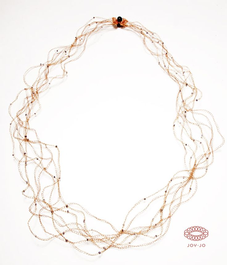 Threads necklace: copper and copper dipped in pink gold and iolite.