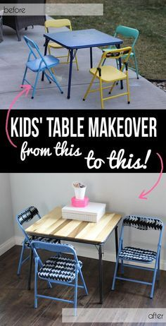 Card Table Makeovers — Alexis from persia lou did her kids' table and chairs makeover with paint and reupholstering, and she topped it off with a wood table top. #cardtables #diyprojects #makeover #brightideas