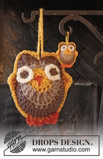 "DROPS Easter: Crochet DROPS owls in ""Safran"" and ""Muskat"". ~ DROPS Design"