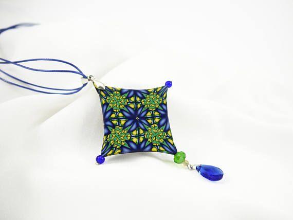 Kaleidoscope necklace Polymer clay Mandala necklace Boho