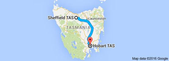 Map from Sheffield TAS to Hobart TAS 3 hrs and 9 min via national hwy 1