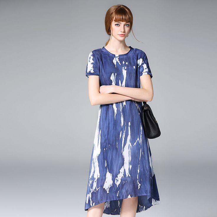 High-end silk dress 2017 summer women's new dress speculation irregular silk floral dress
