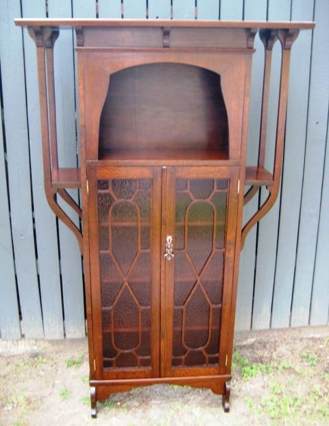 Art nouveau silky oak bookcase