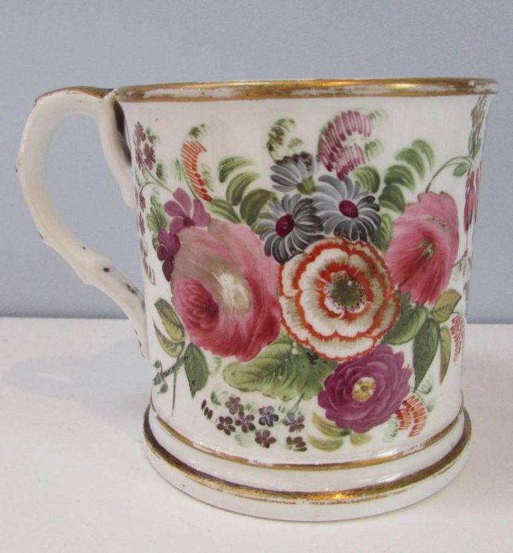Victorian 19th Century Staffordshire Hand Painted Mug Circa 1850