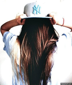 i want long hair again!! i want to do this... minus the hideous yankees hat.