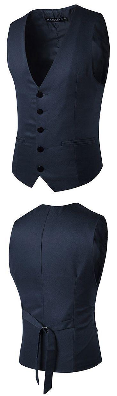Casual Formal Business Slim Fit Fashion Pure Color Suit Vest for Men