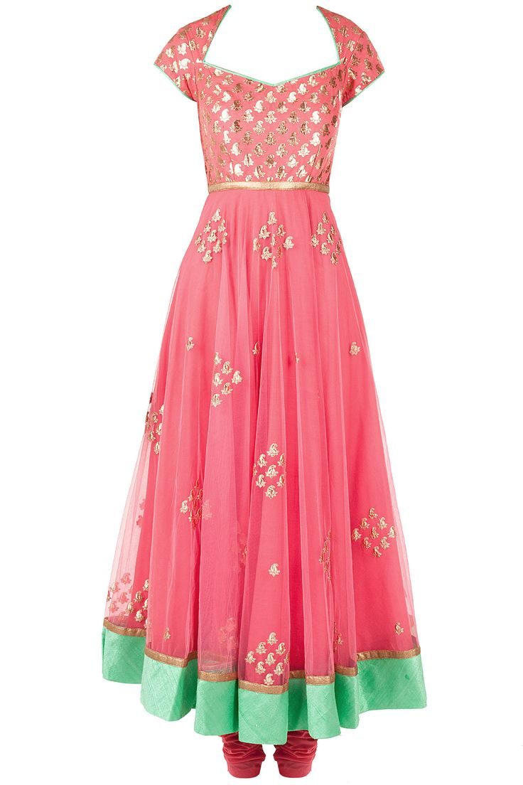 Pink and green chanderi brocade anarkali kurta set by AMRITA THAKUR.