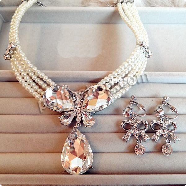 Braut Schmucksets, Glasperlen, Ohrring & Halskette, mit Kristall & Zinklegierung, Eisen Ohrclip, mit Verlängerungskettchen von 7cm, silberfa...
