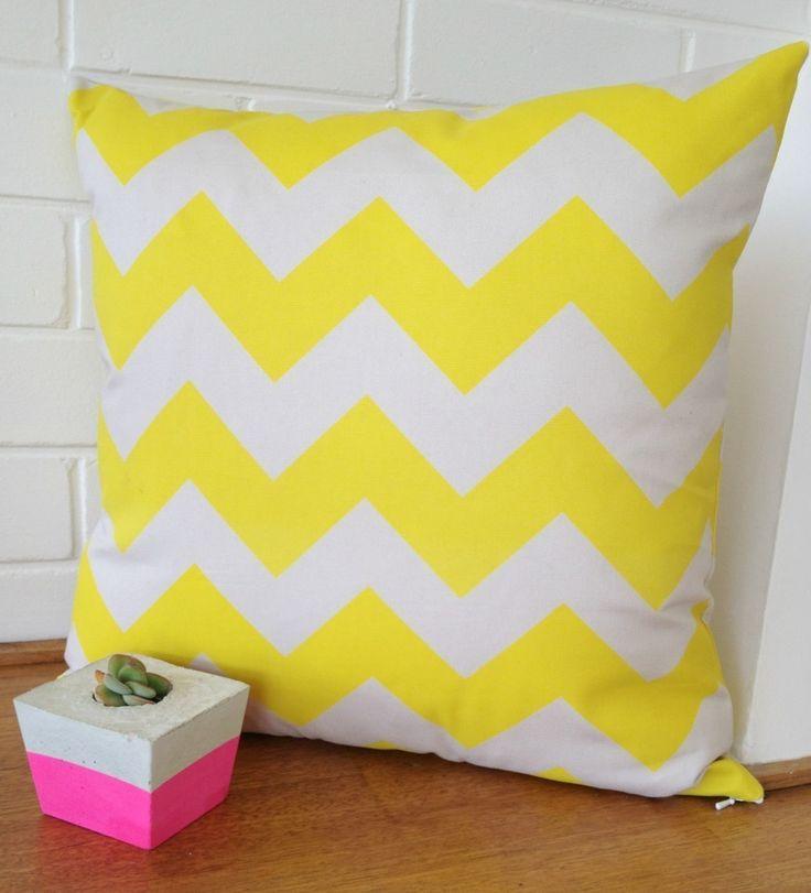 Neon Love - Neon Yellow Chevron Cushion Cover