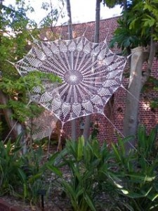 6 to 8 foot wide crocheted spider web from Key West Florida