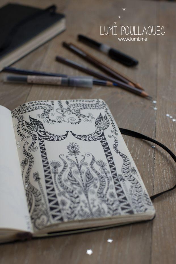 ©Lumi Poullaouec #Illustration #Moleskine #Gribouillis #dessin #Zentangle #Ink