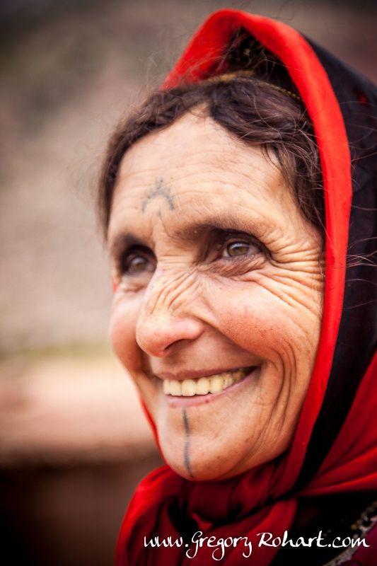 Africa | Berber woman with her traditional facial tattoos.  Aït Boulli, High Atlas, Morocco | ©Grégory Rohart