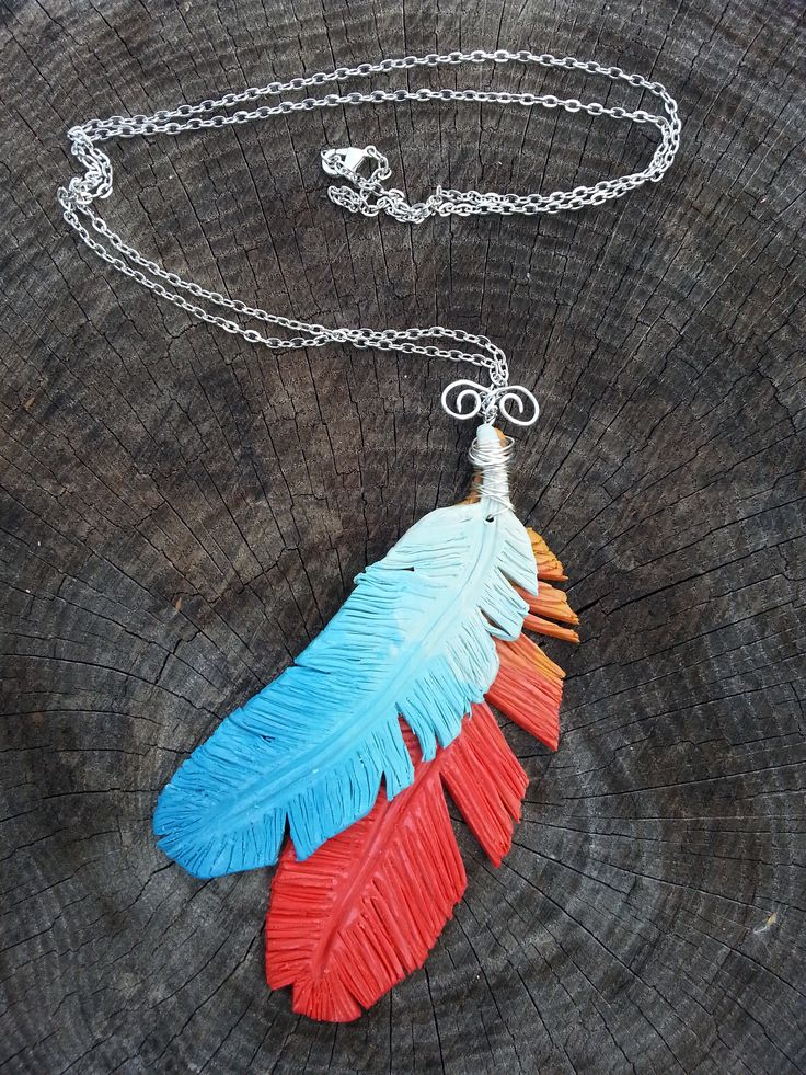 My first feather necklace.  A bit of fire and ice theme going on.