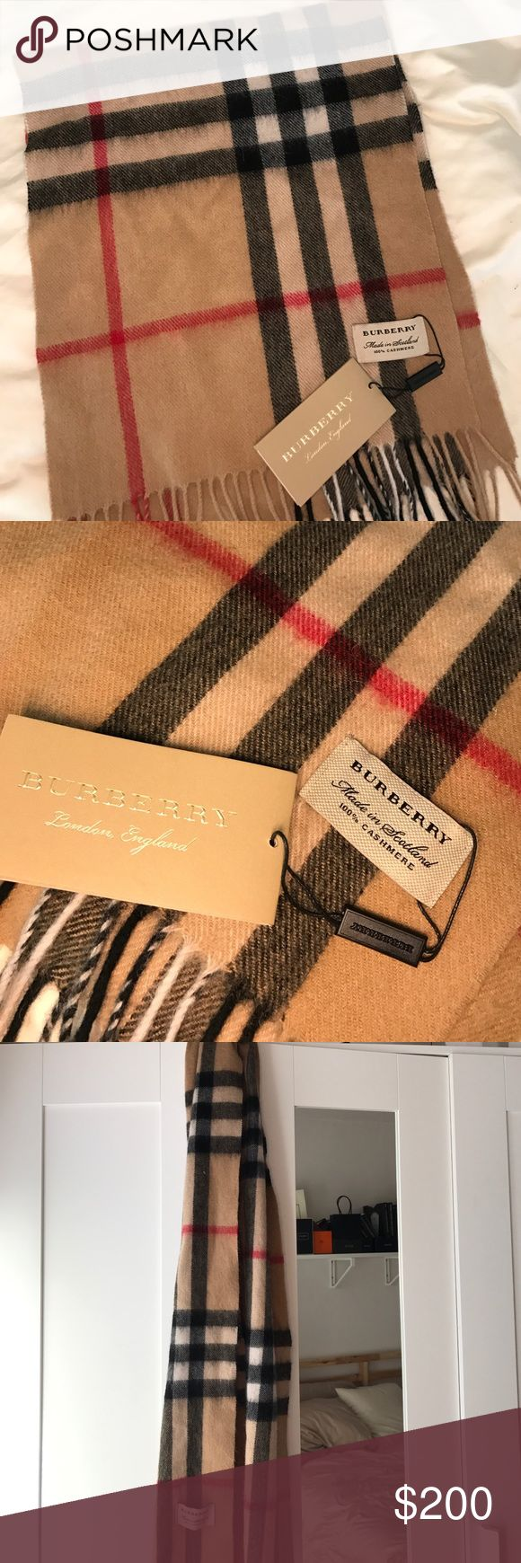*offer* Burberry Cashmere Giant Check Camel Scarf There is no care tag so I am unsure of authenticity. Made of pure cashmere. Make me an offer! Burberry Accessories Scarves & Wraps