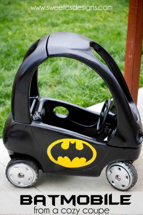 """This Cozy Coupe has been converted into a Batmobile. Unbelievably awesome, don't you think? (Details and """"before"""" picture are at SweetCSDesigns.) - See more at: http://www.rookiemoms.com/tricked-out-modified-and-hacked-baby-gear/?utm_source=feedburner&utm_medium=feed&utm_campaign=Feed:+RookieMoms+(Rookie+Moms)#sthash.iODMfTQx.dpuf"""