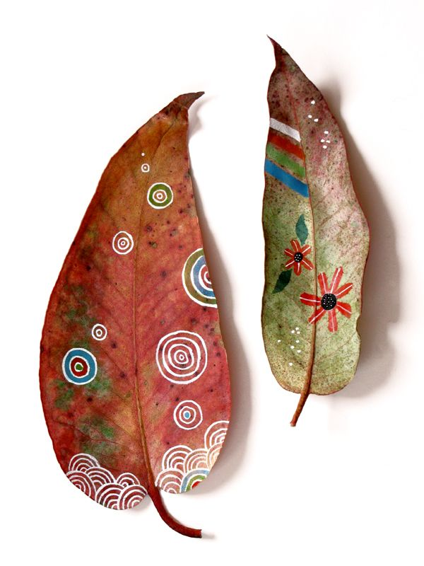 Painted leaves.
