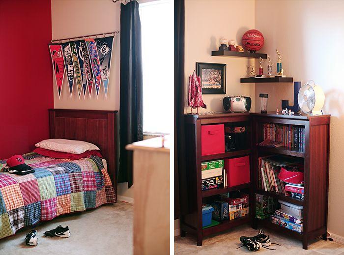 Curtain rod for Pennant banners!  So cute for the boys: Good Ideas, Curtains Clip, Corner Ideas