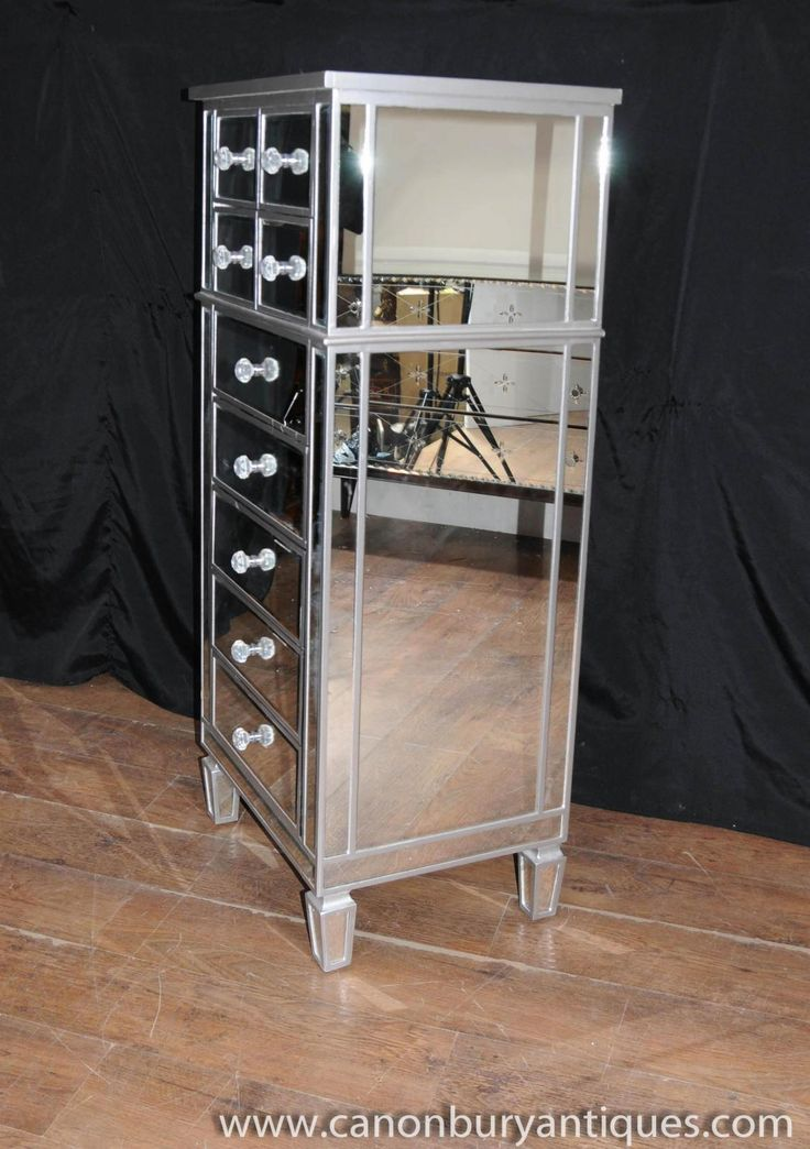 1920s Aesthetic Art Deco Mirror Chest Drawers Tall