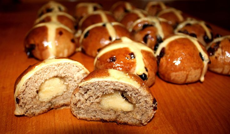 Traditional hot cross buns with a twist! Your favourite Easter bun with the addition of dried cranberries and a marzipan centre.