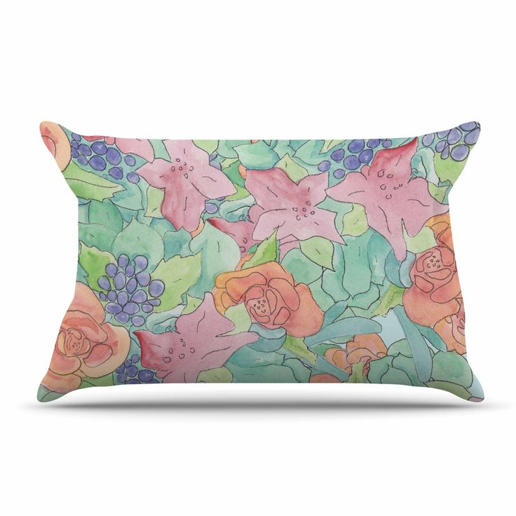 """Catherine Holcombe """"Southwestern Floral """" Green Purple Pillow Case"""