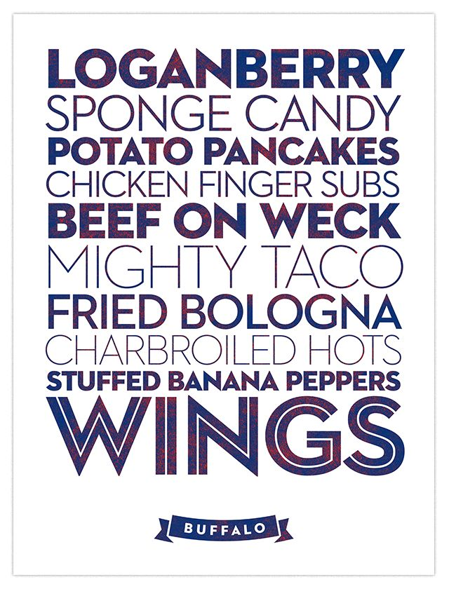 Buffalo - in a nutshell described by FOOD!  YUMM!!  Although, in MY WORLD, Mighty Taco goes 1st!  Anyone wanting to send me ANY OF THE items on this list, please feel free to!!