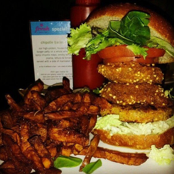 BBQ veggie burger with sweet potato fries!
