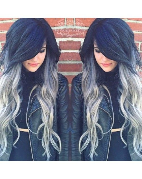 black hair with silver ombre - Google Search
