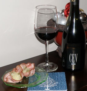 Wine Pairing Review from Essex County Wineries - Colio Estate Wines:  Award wining CEV Syrah 2010 paired with pork spinach florentines.
