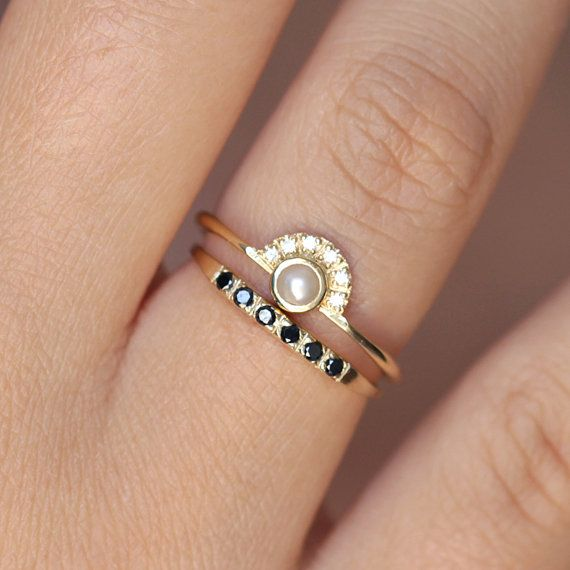 Pearl Engagement Ring with a Pave Black Diamond Wedding Ring